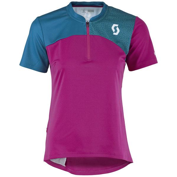 Scott Trail Flow Q-Zip s/sl Damen Shirt festival purple/seaport blue