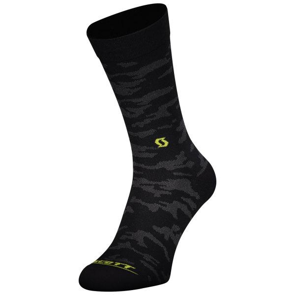 Scott Trail Camo Crew Sock black/sulphur yellow