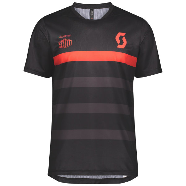 Scott Trail Flow Pro Shirt s/sl black/fiery red