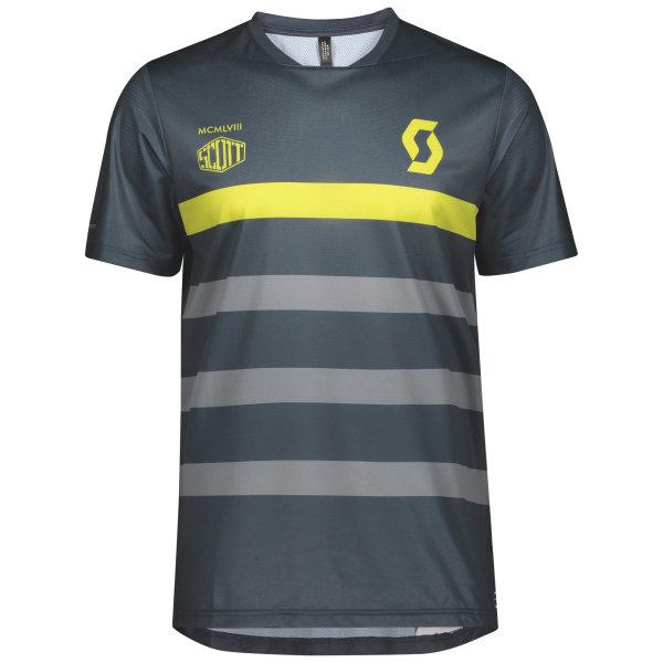 Scott Trail Flow Pro Shirt s/sl nightfall blue/lemongrass yellow